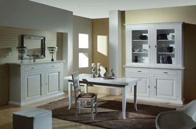 sala completa arte povera legno massello laccata bianco - estea mobili - Tavoli Allungabili In Legno Massello Arte Povera