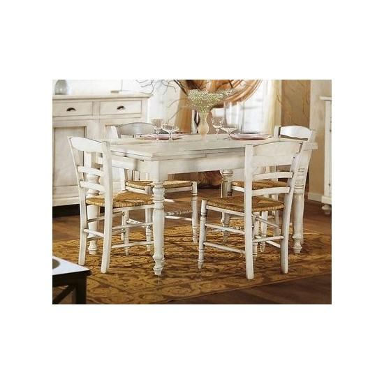 Tavolo legno rettangolare allungabile laccato bianco - Tavolo bianco anticato ...