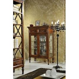 Vetrina credenza legno con intarsio e vetro libreria legno massello - Mobili occasioni ...