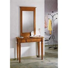 Consolle legno tavolo piccola scrivania 1 cassetto arte povera for Consolle scrivania moderna