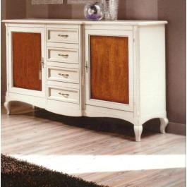 Credenza bicolore legno massello bianco anticato e noce for Mobili legno bianco anticato