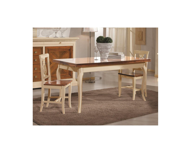 Tavolo legno quadrato bicolore 100x100 allungabile 4 sedie laccato bicolore legno massello - Tavolo quadrato legno ...