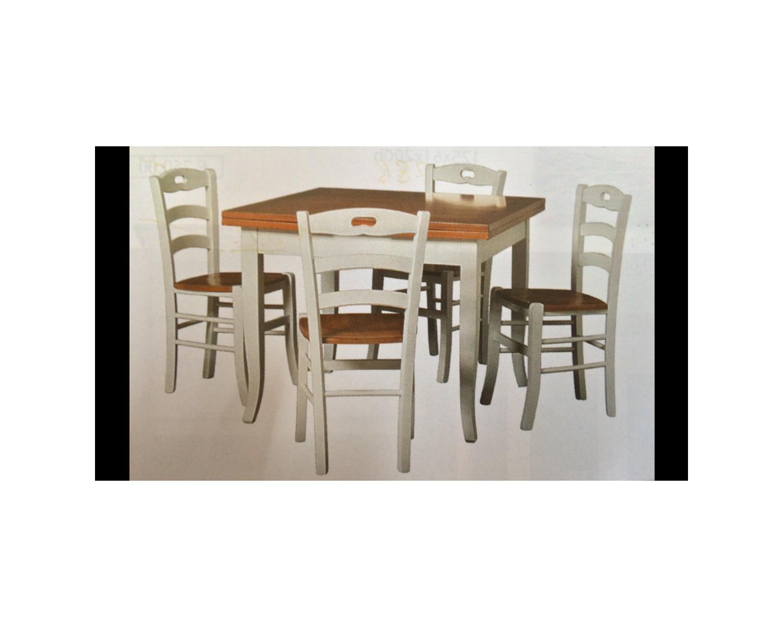 Tavolo legno 140x80 bicolore e 4 sedie bicolore country for Tavolo 140x80 allungabile legno