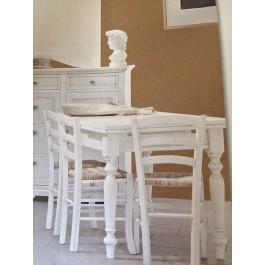 Tavolo 140x80 All Legno Bianco Opaco E 4 Sedie Come Foto