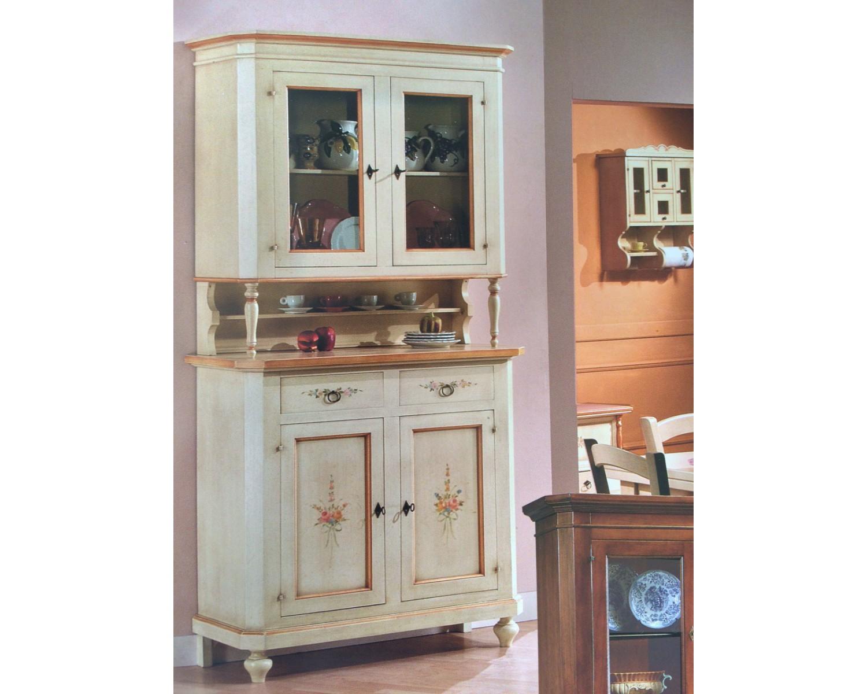 Credenza vetrina base alzata legno decorato colore for Mobili legno bianco anticato