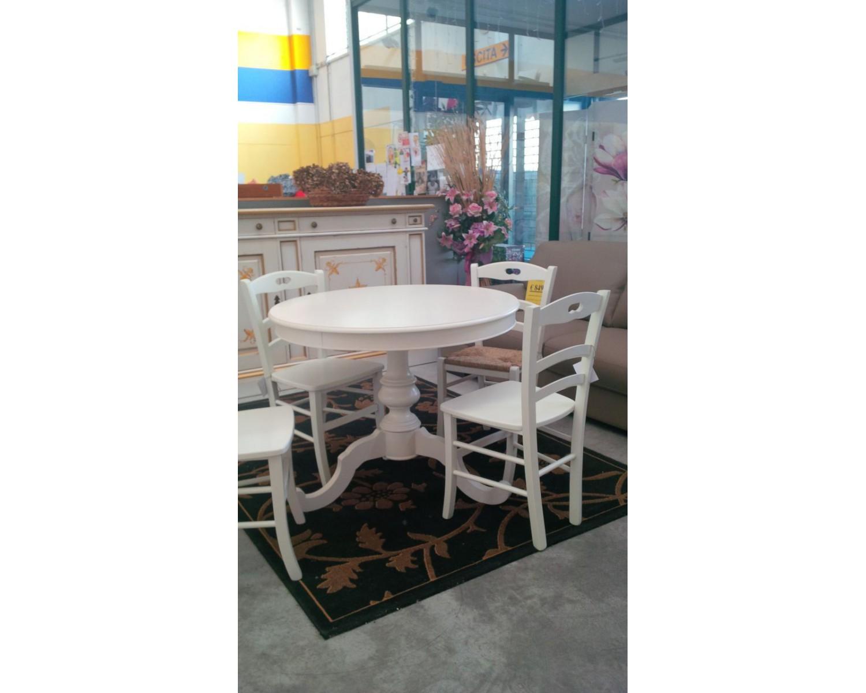 Tavolo legno rotondo colore bianco opaco allungabile varie dimensioni estea mobili - Tavolo rotondo bianco allungabile ...