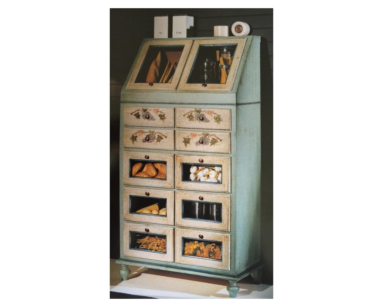 Dispensa legno decorata dipinta a mano for Dispensa legno