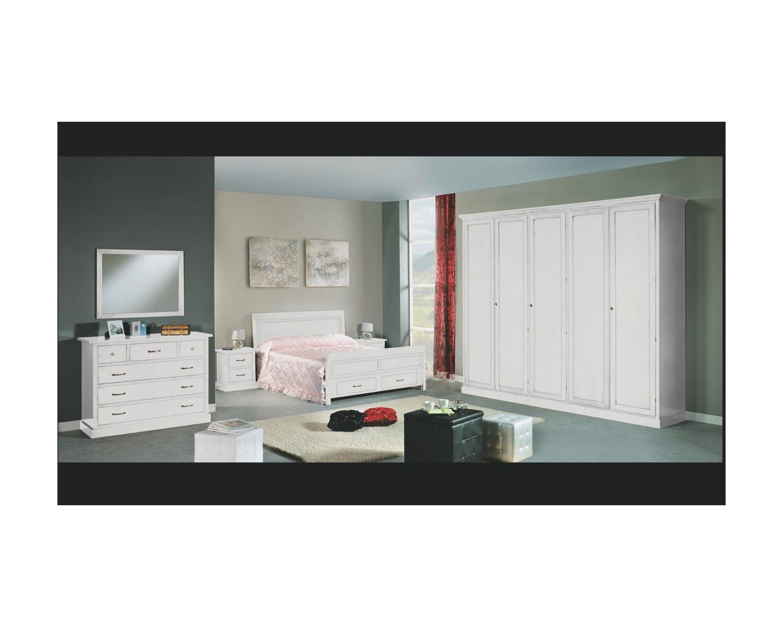 Camera da letto completa legno massello col bianco - Camera da letto frassino bianco ...