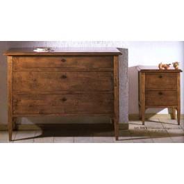 cassettiera e 2 comodini legno massello vari colori