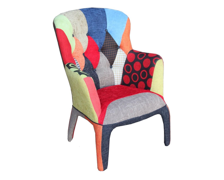 Poltrona imbottita design patchword multicolore for Poltrona design