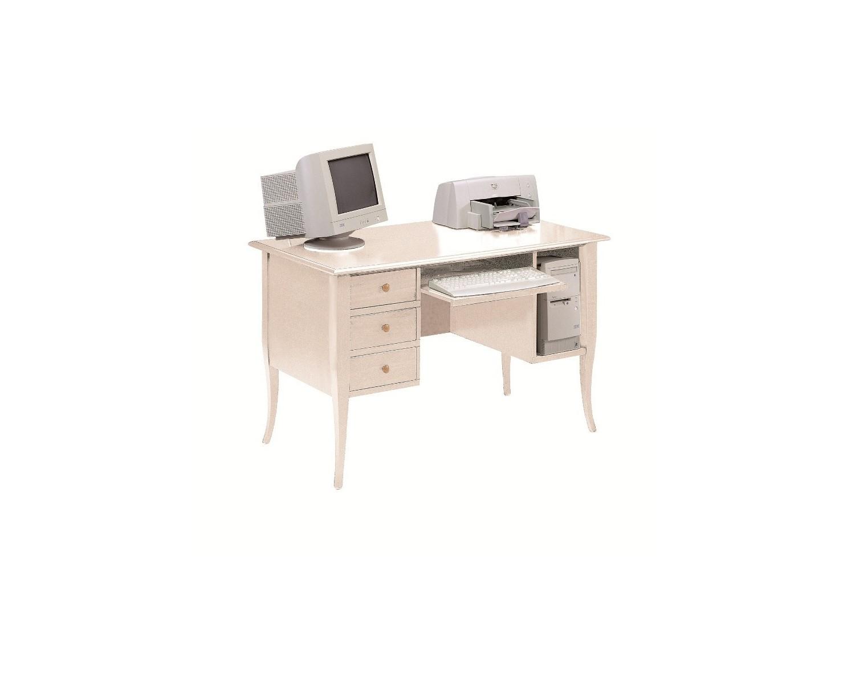 Tavolo scrivania porta pc in legno col avorio patinato - Tavolo porta pc ...