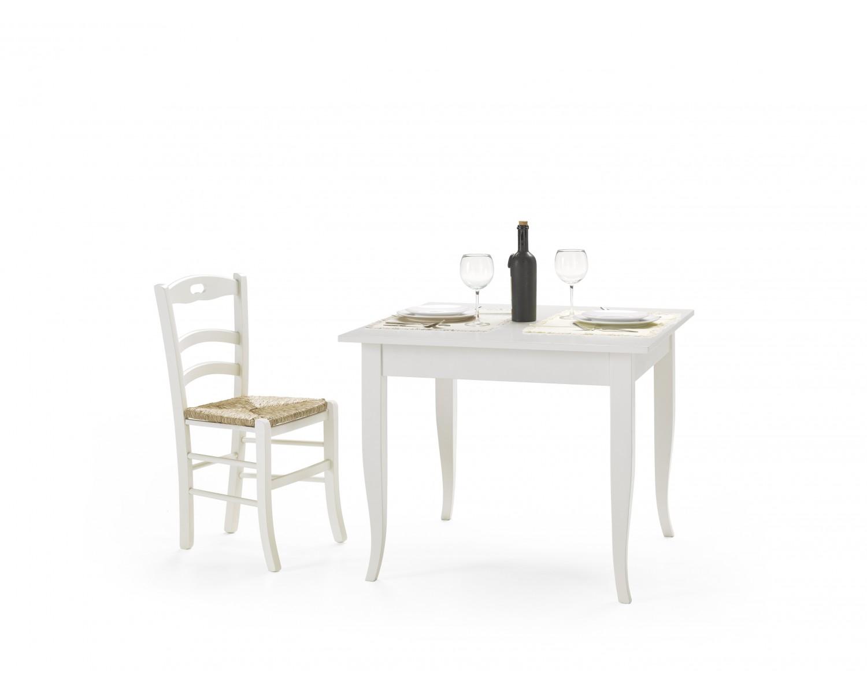 Tavolo in legno 90x90 fisso colore bianco for Tavolo in legno bianco