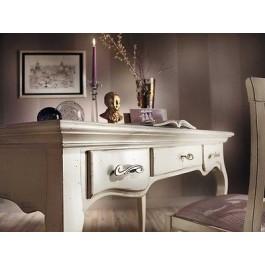 Tavolo scrivania scrittoio legno massello col bianco anticato for Mobili legno bianco anticato