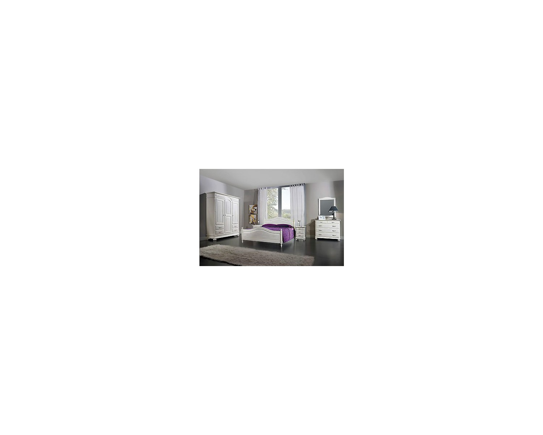 Camera da letto bianco spazzolato legno massello letto como 39 comodino armadio - Camera da letto frassino bianco ...