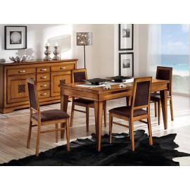 tavolo legno quadrato bicolore 100x100 allungabile 4 sedie laccato ... - Tavolo Cucina Legno Massello