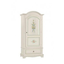 MOBILE CABINET CABINET PROVENZALE IVORY WHITE PAINTED WOOD DECORATED