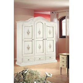 MOBILE CABINET 3 DOORS PAINTED WOOD DECORATED MATT WHITE IVORY