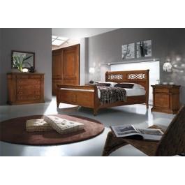 Camera matrimoniale noce armadio como letto specchio comodini legno massello - Specchio camera letto ...