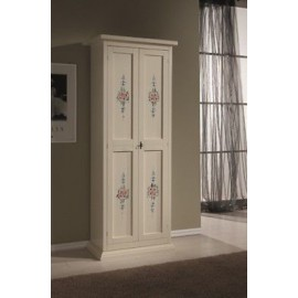 WOODEN SHOE CABINET 2 DOORS WITH POOR ART. IVORY DECORATIONS PANTRY X SHOES