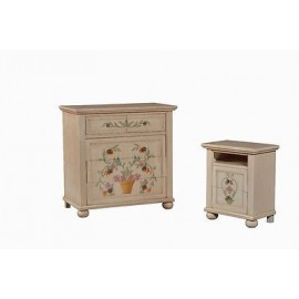 COMODINO LEGNO CASSETTIERA DECORATO A MANO DIPINTO ANTICATO COUNTRY COLLECTION