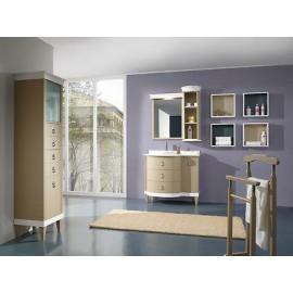 Mobile bagno arredo legno massello artigianale laccato con - Specchiera bagno legno ...