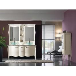 Mobile bagno doppio arredo legno massello artigianale laccato con specchiera - Specchiera bagno prezzi ...