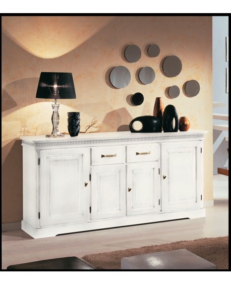 Credenza credenzone in legno bianco anticato promozione estea mobili - Mobili legno bianco anticato ...