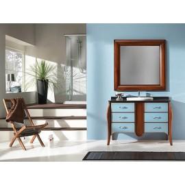 Mobile bagno arredo legno massello artigianale laccato bicolore con specchiera - Arredo bagno legno massello ...