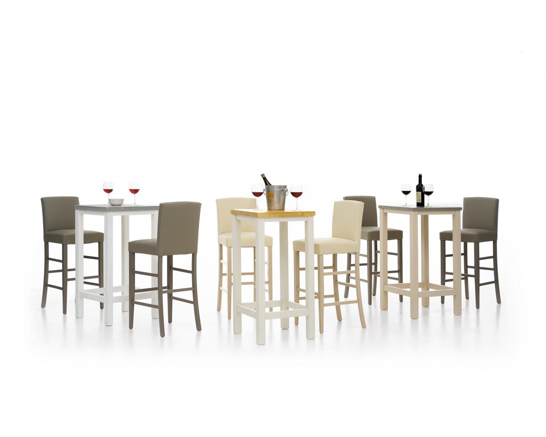 Tavolo tavolino alto da bar in legno di abete col bianco for Tavolo alto da bar