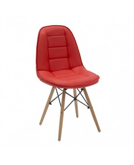 Sedia rossa ecopelle struttura legno for Sedia rossa
