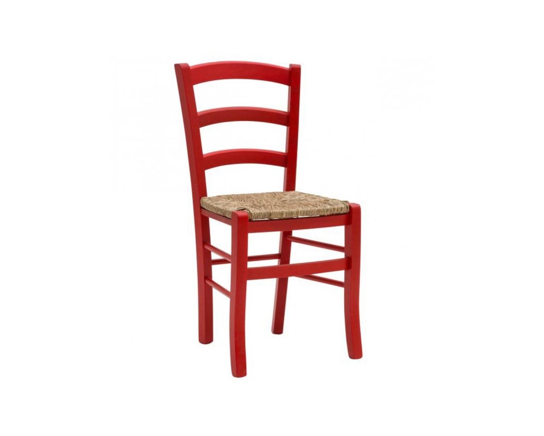 Sedia rossa con fondino in paglia for Sedie cucina rosse