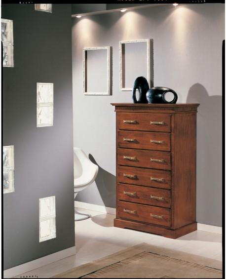Cassettiera legno colore noce con intarsio x camera da letto - Cassettiere per camera da letto ...