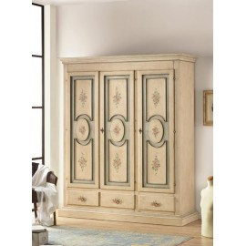 CABINET IN WOOD L 184 P 60 H 217 3 DOORS IVORY ANTICATO AND DECORATED HAND