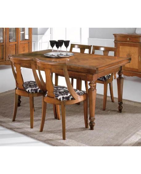 Tavolo legno massello noce allungabile l 160 p 90 h 80 - Tavolo noce massello ...