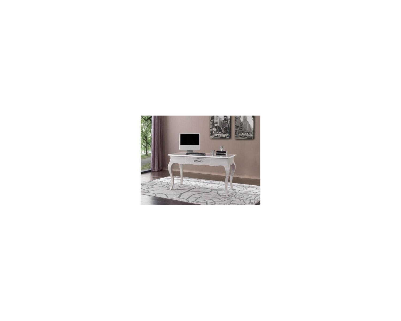 Tavolo Scrivania Laccato Bianco Legno Massello L 140 P 65