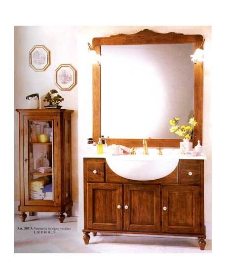 Mobile bagno arredo legno massello arte povera classico con specchiera - Arredo bagno arte povera ...