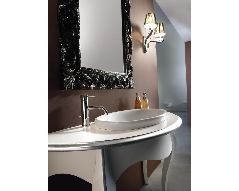 Mobile bagno arredo legno massello artigianale laccato bicolore con specchiera - Mobile bagno legno massello ...