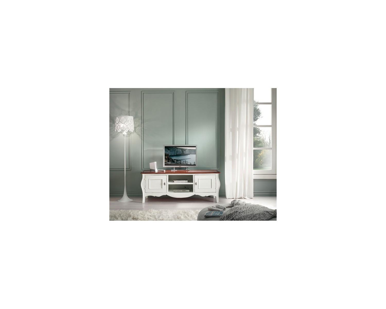 Porta tv laccato bianco bicolore legno massello l 160 p 50 - Porta tv bianco ...