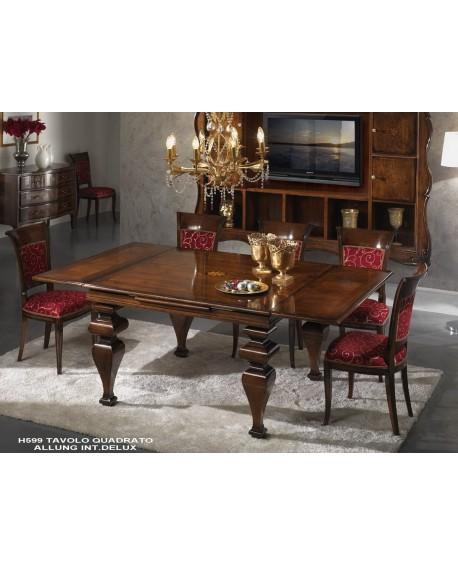 tavolo quadrato intarsiato allungabile legno massello l
