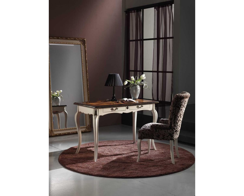 Tavolo scrivania scrittoio legno massello con intarsio 120x60xh80 estea mobili - Mobili legno bianco anticato ...
