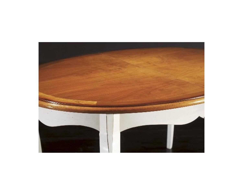 Tavolo legno massello ovale allungabile l 160 p 110 for Tavolo bianco e legno