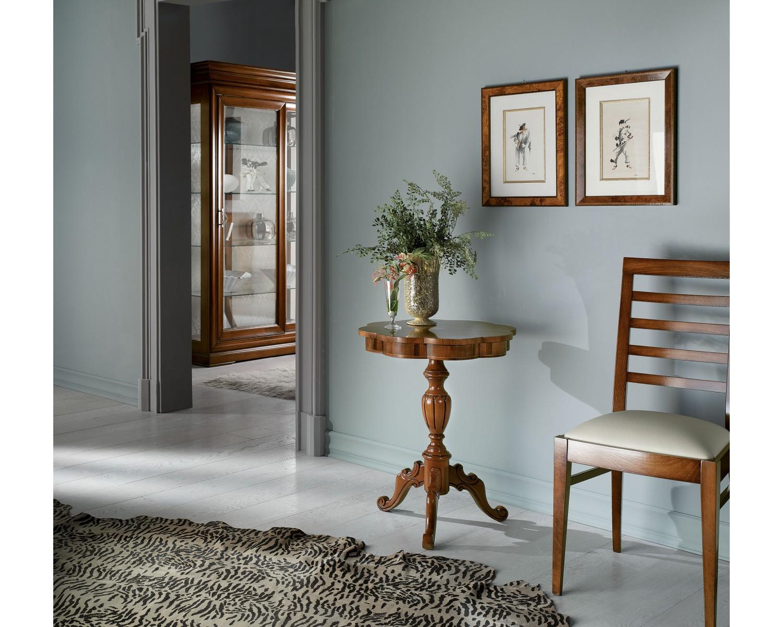 Tavolo legno diametro 56 h 71 rotondo intarsiato legno for Tavolo rotondo legno chiaro