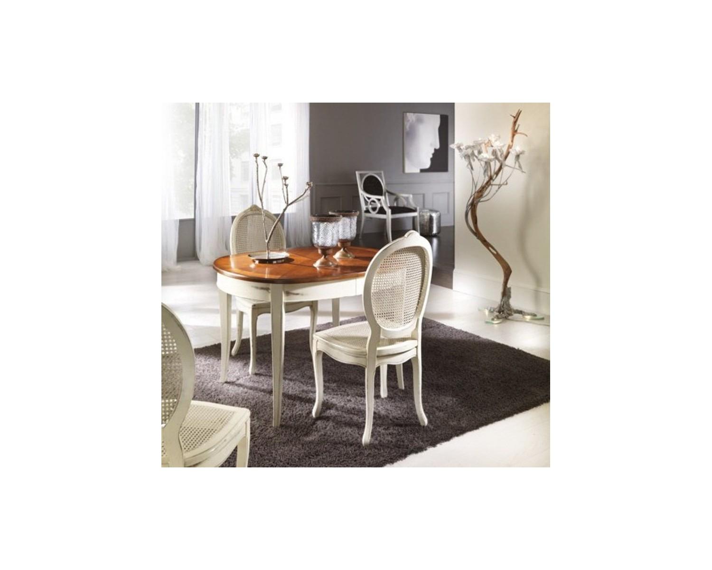 Tavolo Ovale Intarsiato Bicolore Legno Massello L 115 P 95