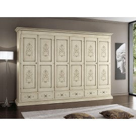 CABINET DOORS 6 DRAWERS L 300 P 61 H 240 DECORATED IVORY ARTIGIANALE SOLID WOOD