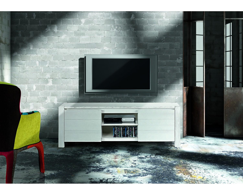 Porta tv abete bianco spazzolato cm 165x45 - Porta tv bianco ...