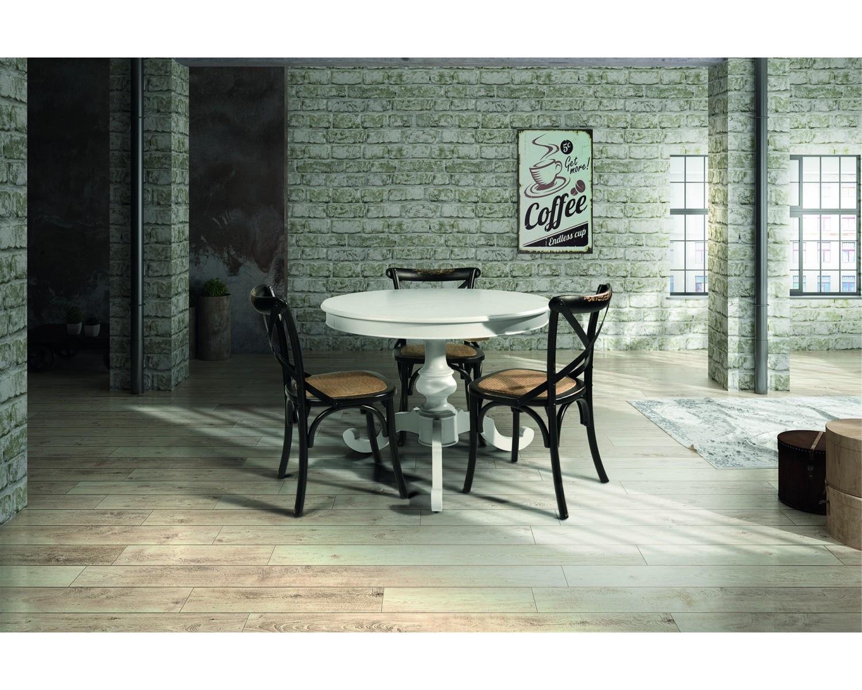Tavolo legno rotondo colore bianco opaco allungabile varie - Tavolo rotondo allungabile bianco ...