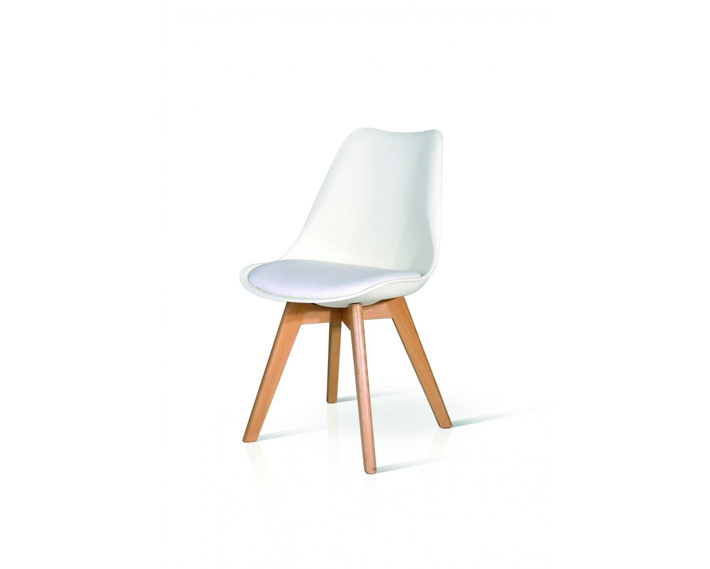 Sedia moderna design legno naturale e imbottita eco pelle for Sedia moderna design