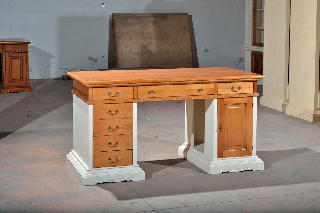 Scrivania scrittorio legno massello finitura bicolore come for Piani scrivania stile artigiano