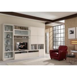 PARETE DA SOGGIORNO MODERNO VETRINA PORTA TV vari colori - frassinato e lucido
