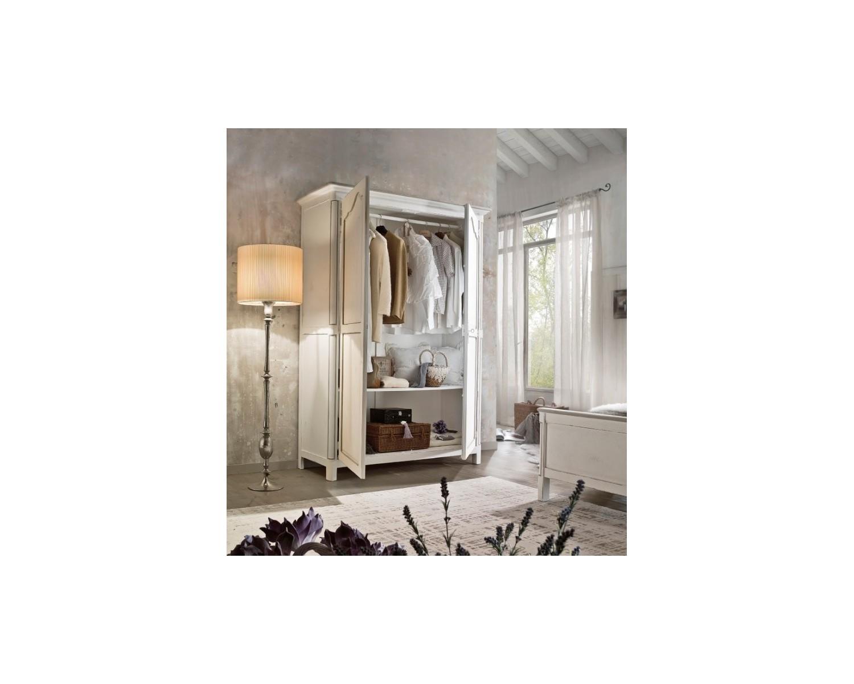 Armadio 2 ante battenti legno massello bianco anticato l 157 p 60 h 217 estea mobili - Mobili legno bianco anticato ...